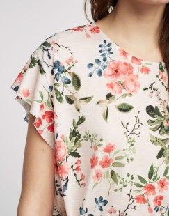 PULL AND BEAR - Maglietta volant stampato a fiori chiari